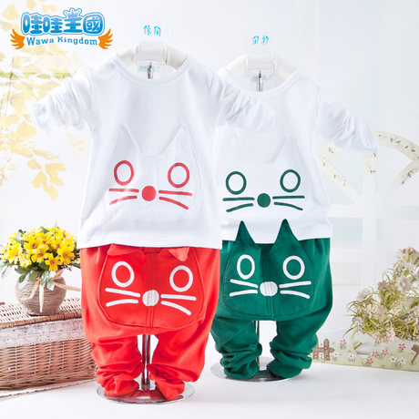 572bb3a814640 Children summer clothing set baby clothes baby clothing can sack kitten  T-shirt for boys. Loading zoom